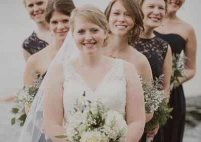Bride with Bridesmaids at Minnesota Lake