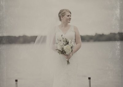 Bride with Flowers at Minnesota Lake
