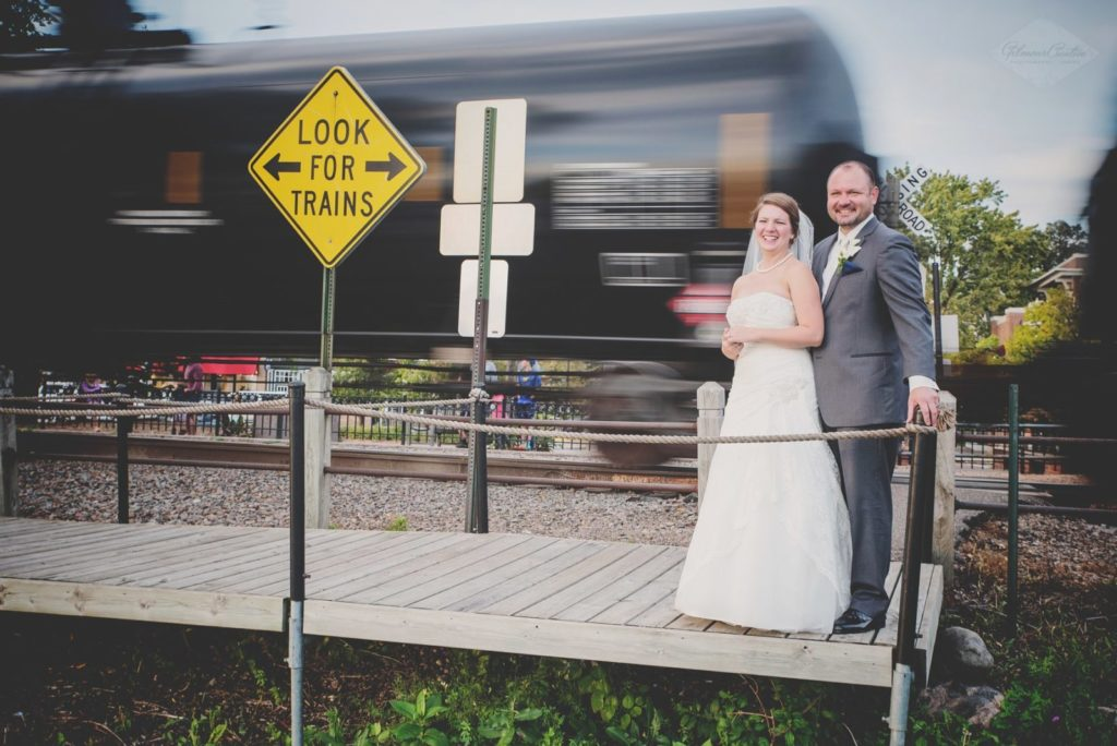 Bride and Groom at Train Crossing
