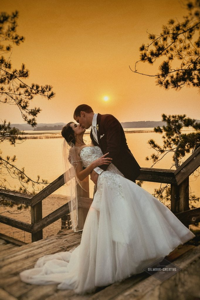 Maddens Resort Wedding Sunset kiss